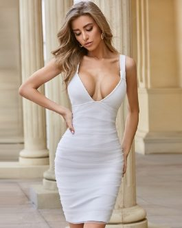 Sleeveless Deep V Nack Sexy Spaghetti Strap Celebrity Party Dress