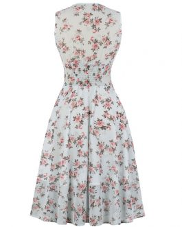 Sleeveless V-Neck Floral Print Layered Pleated Rockabilly Dress