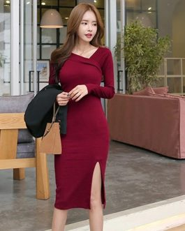 Slim Hip Packaged Slash-Neck Side Slit Knitted Cotton Sweater Dresses