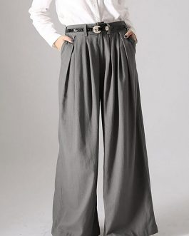 Solid Button Wide Leg Causal Pants