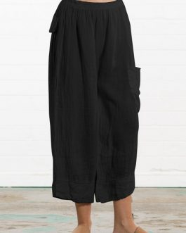 Solid Color Cotton Elastic Waist Loose Wide Leg Pant
