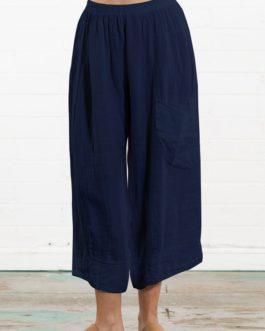 Solid Color Cotton Elastic Waist Loose Wide Leg Pant