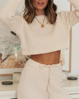 Solid Color O Neck Pullover Knitted Pants 2pcs Set