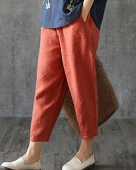 Solid Elastic Waist Casual Cotton Pants