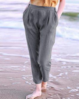 Solid Elastic Waist Casual Loose Harem Pants