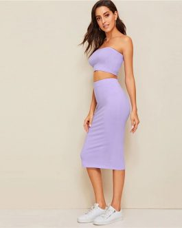 Solid Strapless Sleeveless Sexy Slim Fit Two Piece Set