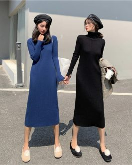 Solid Turtleneck Knitted  Elegant Sweater Dress