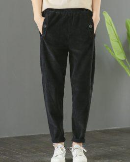 Solid Waist Elastic Corduroy Pants