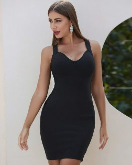 Spaghetti Strap Hollow Out Sexy Bodycon Celebrity Party Dress
