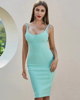 Spaghetti Strap Tassel Sexy Celebrity Party Bandage Dress