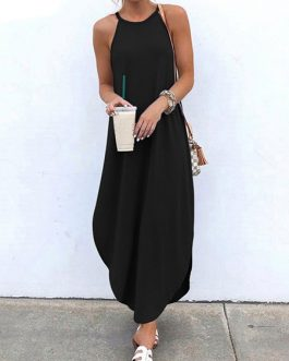 Straps Neck Sleeveless Floor Length Maxi Dress