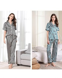 Stripe Short Sleeve Shirt Long Pants Nightwear