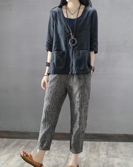 Striped High Elastic Waist Long Harem Pants