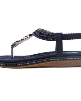 Thong Sandal – Elastic Back / Gold Buckle