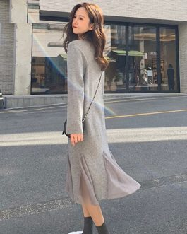 Turtleneck Full Sleeve Slim Stretch Vestidos Knitted Sweater Dresses
