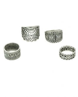 Vintage Knuckle Ethnic Embossed Ring Set In 4 Pieces