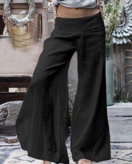 Wide Leg Casual Loose Solid Color Elastic Waist Trousers Pants