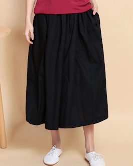Wide Leg Solid Color Cotton Linen Elastic Waist Pant