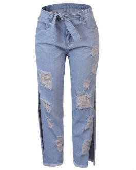 Zipper Natural Waist Distressed Split Casual Denim Trousers Pants