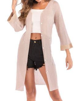Acrylic Casual V-Neck Long Sleeve Sweaters Cardigans