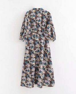 Bow Tie Three Quarter Sleeve Loose Soft Satin Print Dress