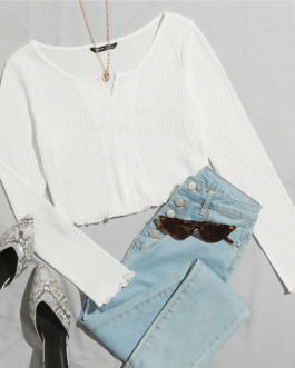 Button Front Lettuce Edge Waffle Knit Crop Tee