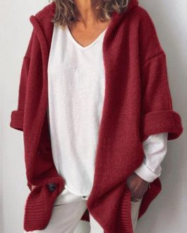 Casual Hooded Neck Long Sleeves Cardigans Sweaters