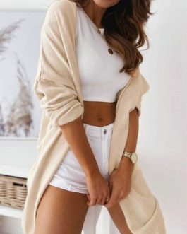 Casual Jewel Neck Long Sleeve Cardigans Sweaters