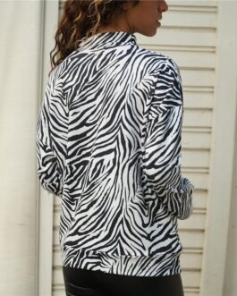 Casual Long Sleeve Zebra Print Knitted T-Shirt