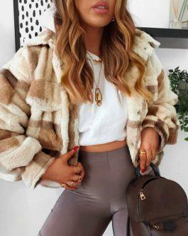 Casual Plaid Long sleeve lapel fur coat