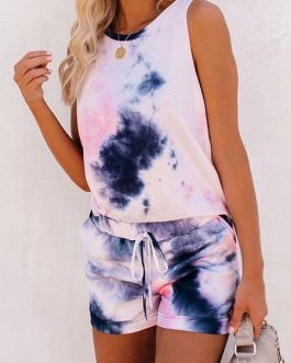 Casual Printed Sleeveless Two Piece Sets