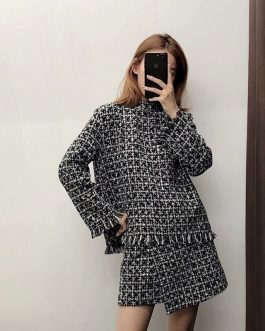 Casual Stand Neck Fashion Chic Plaid Tassels Sweatshirt