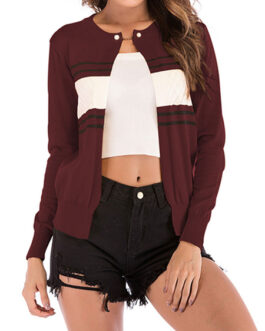 Casual Sweaters Jewel Neck Long Sleeve Short Cardigans