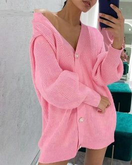 Casual v-neck short knitted cardigan