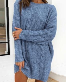 Causal Elegant o-neck long sleeves knitted dress