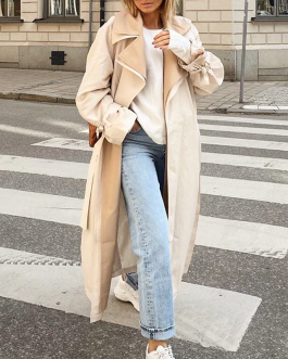 Causal fashion long straight coat