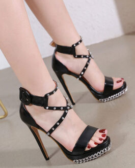 Chain Spike Stiletto Heel Open Toe Criss Cross Platform Sexy Sandal Shoes