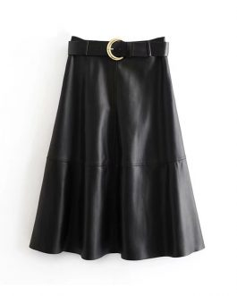 Chic PU Faux Leather Skirt With Belt