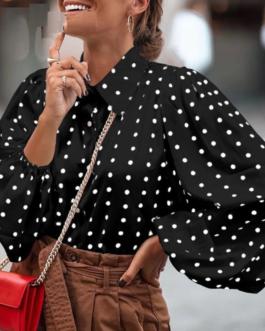 Chiffon Long Sleeve Shirt High street style Lapel top
