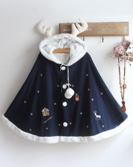 Christmas Deer Lolita Cape Coat Hooded Pom Poms Outerwear