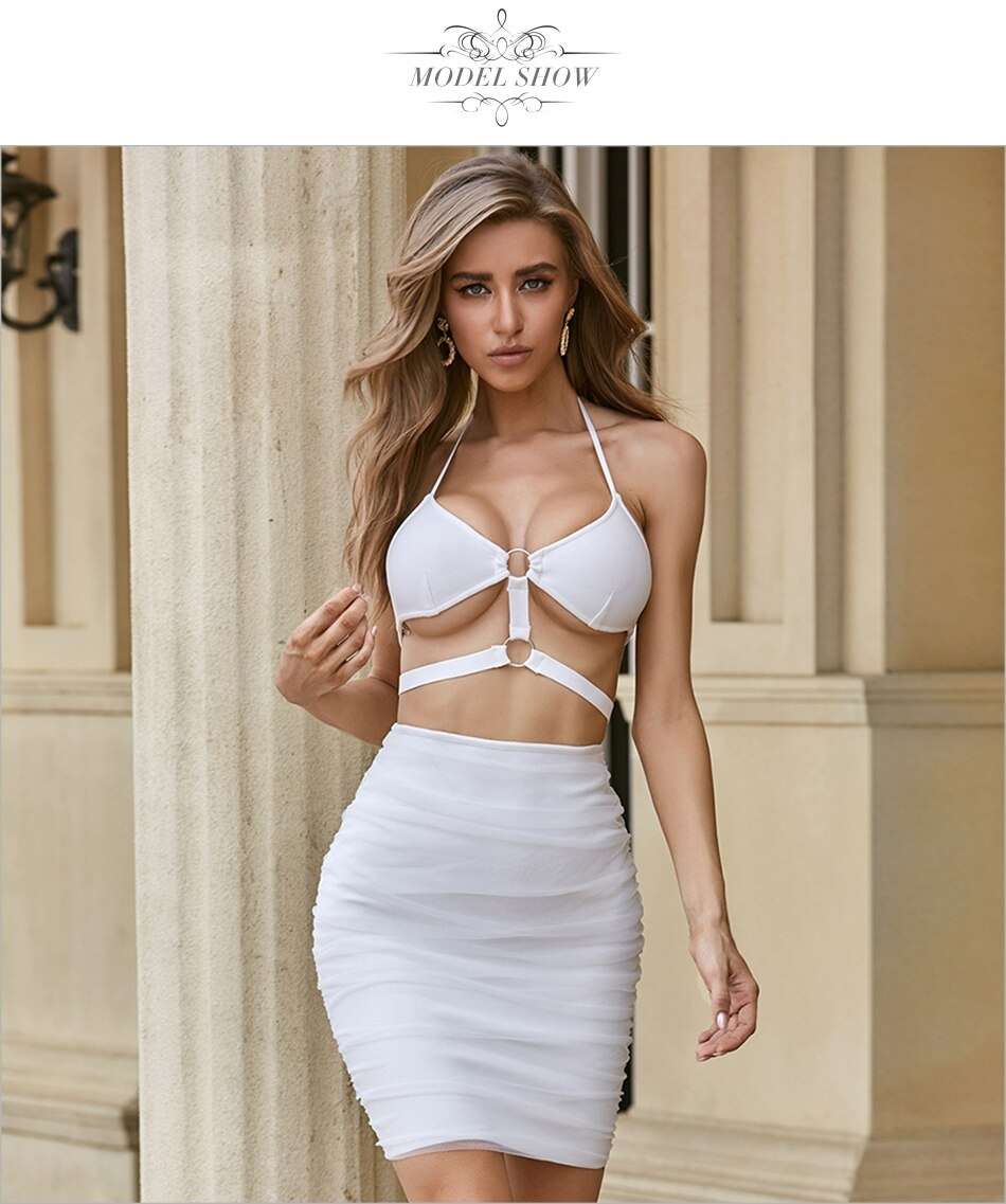 Club Sexy Hollow Out Spaghetti Strap Celebrity Party Bodycon Dress 7