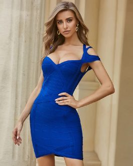 Club Sexy Runway Short Sleeve Halter Celebrity Party Bodycon Dress