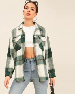 Collared Drop Shoulder Flap Pocket Front Plaid Coat