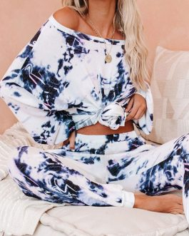 Cotton Long Sleeves Scoop Neck Tie Dye Casual Top With Pants