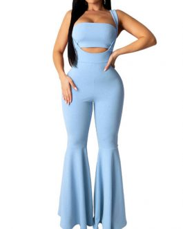 Crop Top With Flared Body Conscious Layered Trousers