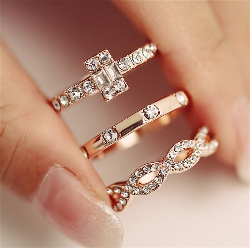 Crystal Twist Ring Couples Engagement Wedding Jewelry2