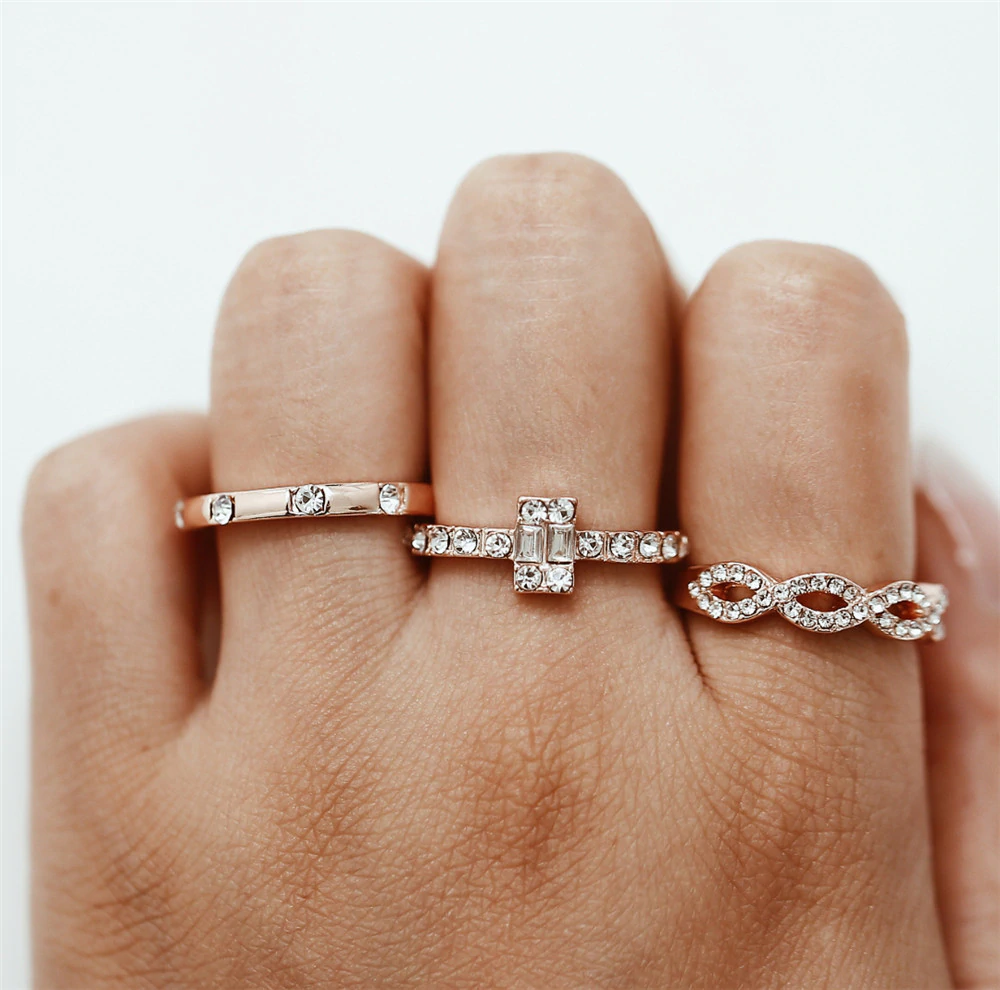 Crystal Twist Ring Couples Engagement Wedding Jewelry5