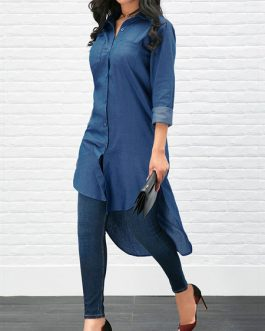 Denim Turndown Collar Long Sleeve High Low Casual Shirts