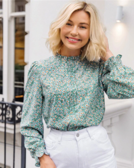 Ditsy Floral Frill Neck Pleated Front Flounce Sleeve Top