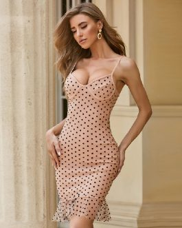 Polka Dot Sexy Mermaid Lace Celebrity Party Bodycon Dress